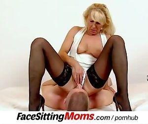 Sexy stockings legs mom Koko Margit muff diving during..