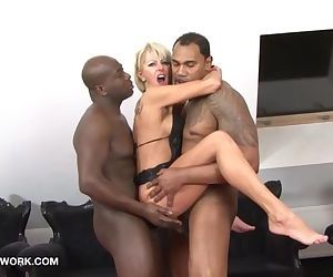 Interracial Threesome Mature Blonde Double Penetration..