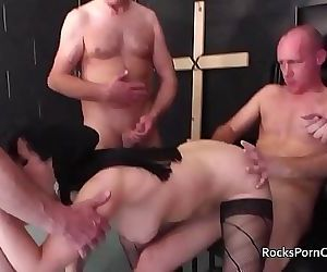 30 second cummer cum in nuns mouth before gangbang 10 min..