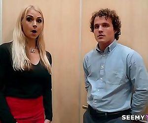 My boss angry wife Sarah Vandella fucks me in the elevator..