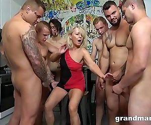 First Ever Grandma GangBang! Cum Everywhere! 6 min 720p