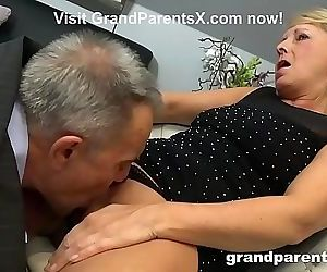 Old Couple Teaches Teen Maid How to Fuck 8 min 720p