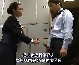 Beautiful Asian stewardess dissuade guy from masturbating..