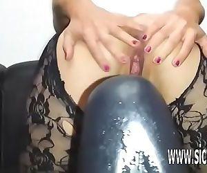 Colossal dildo fucking amateur MILF 6 min