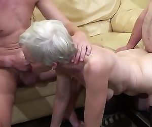 Old woman makes a threesome with her nephew and her father..