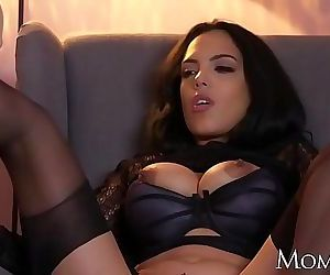 MOM Kinky big tits Latina MILF in stockings suspenders and..