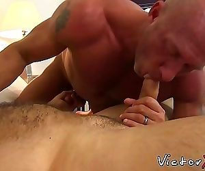 Bald gay dude wearing a cock ring drills his boyfriend raw..