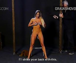 Fit girl with silicone tits in BDSM casting scene 5 min..