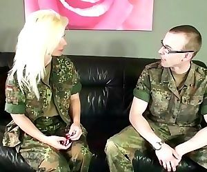 ARMY MILF with Hairy Pussy Fucks Young Boy SoldierGerman..