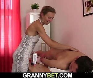 60 years old masseuse gets her hairy pussy drilled by..