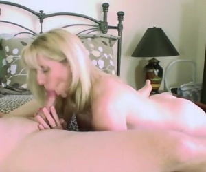 53 year old Blonde sucks and fucks a 23 year old guy
