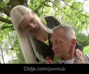 Skinny rich old man fucks his busty blonde girlfriend in..