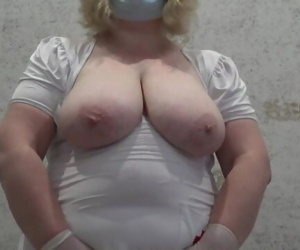 Anal, anal fisting, a mature nurse with large natural..