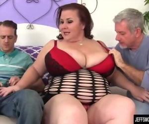 Huge boobs chunky mom double vaginal