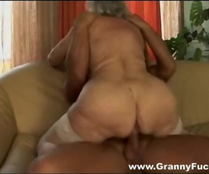 Granny porn star Norma gets a stripper for her birthday.