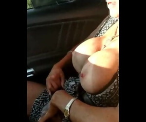 Big tits, tan lines and taunting touch