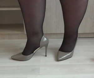 Thick legs like different shoes with high heels and like..