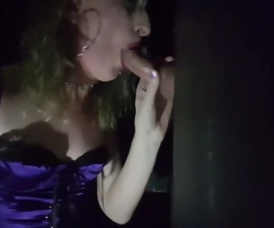 Essex Girl Lisa sucks lots of cock at the Glory Hole and..