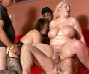 Fatty fuckers at the gangbang orgy