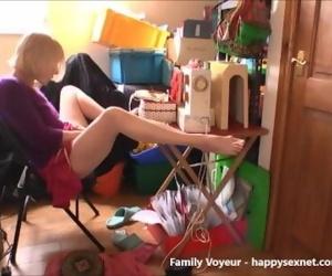 My mom takes a break and masturbating. Hidden cam