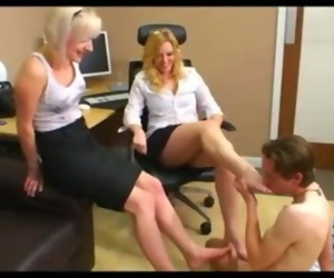 Two mistress and one slave - office foot worship and footjob