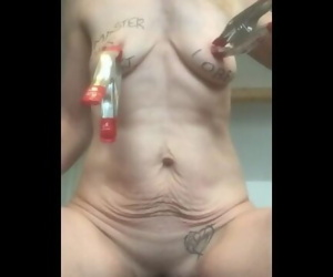 Extreme nipple torture with metal brush and tabasco for..