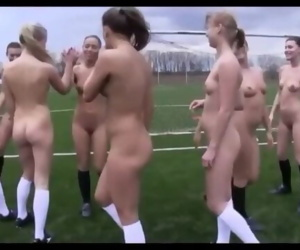 Naked girls are playing soccer