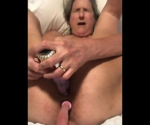 60 year old granny milf matur anal dildo play tied up..