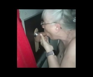 MOMMAS 2nd GLORYHOLE VISIT - 1b She sucks his dick more