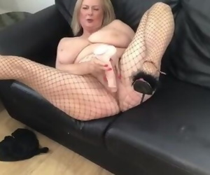 Annabel's black front zip sexy swimsuit dildo play