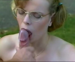 Hairy Pussy Nerdy Girl with Glasses Fucked Retro