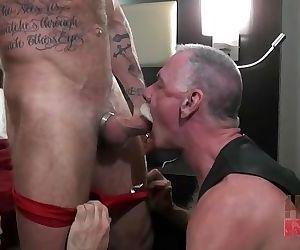 Horny daddies fuck bareback