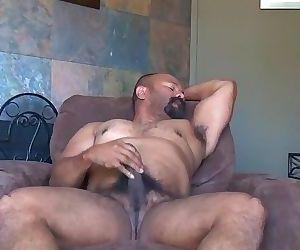 Amateur Latino Bear in Recliner