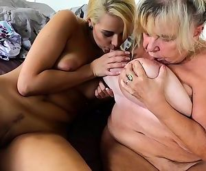 Granny with big boobs masturbate with cute young girl with..