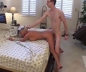 Young guy fills his Granny with hard cock cums twice Sally..