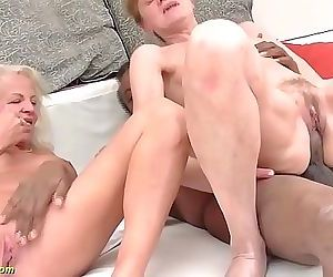 Crazy 71 and 82 years old grannies rough interracial anal..