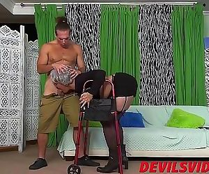 Big ass granny gets dicked from behind by a young pervert..