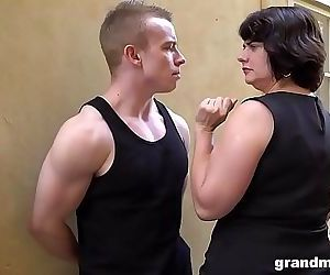Fat mature wife pays young boy 50 Euros for a blowjob 4..