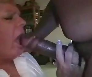 White grany turns into a bbc slut watch her eat cum and..