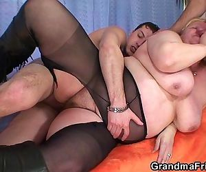 Busty granma in stockings takes two cocks - 6 min HD