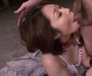 Mature asian blows three studs in a foursome on her knees..