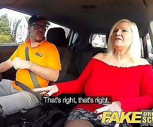 Fake Driving School Busty mature MILF sucks and fucks..