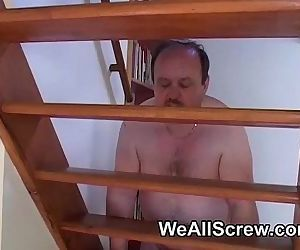 Nervous Indian sucks fat old mans cock - 6 min