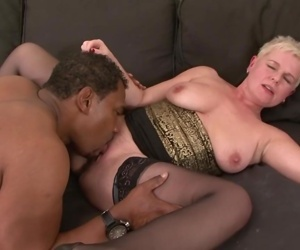 Short hair grandma takes hard pussy fucking by BBC