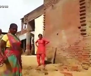 Angry worker lady showing off her boobs to intruder with..