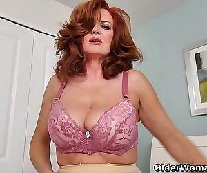 American milf Andi James rubs her pantyhosed pussy 12 min HD