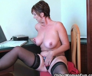 Classy grandma Joy gets fingered deep and masturbates with..