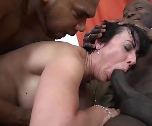 Granny threesomes with 2 black men shoving cocks in her..