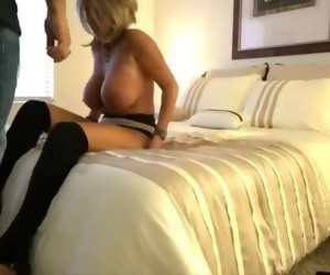 Busty wife cheating on husband with her new boss on..