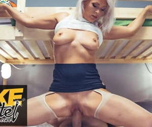 Fake Hostel real mature milf with nice natural tits fucks..